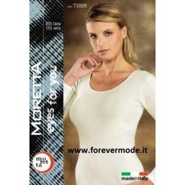 Maglia donna Moretta manica lunga, lana seta, profili in raso