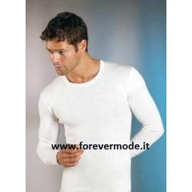 T-shirt uomo Gicipi girocollo manica lunga in misto lana pesante