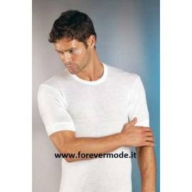 T-shirt uomo Gicipi manica corta a girocollo in caldo misto lana pesante