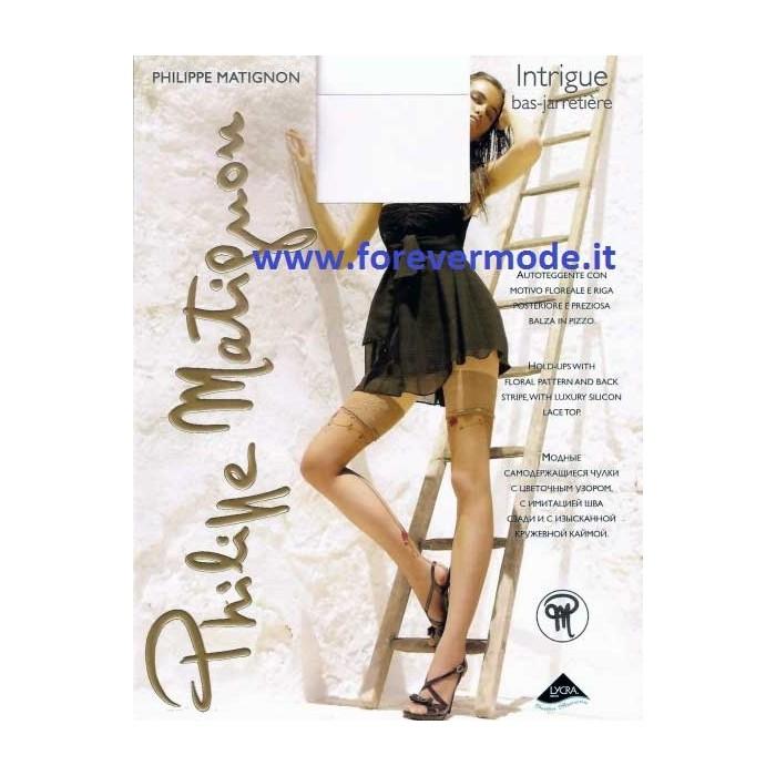ma non volgare vendita scontata Promozione delle vendite Autoreggente donna Matignon Intrigue motivo floreale riga dietro
