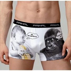 2 Boxer da uomo Primal in cotone elasticizzato con stampa ed elastico loggato