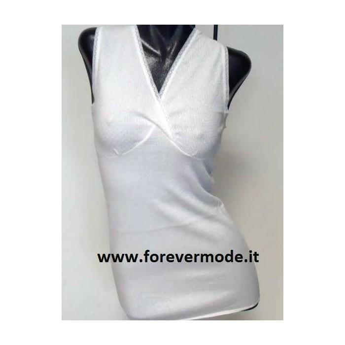 3 Canottiere donna Gicipi a spalla larga in cotone con forma del seno