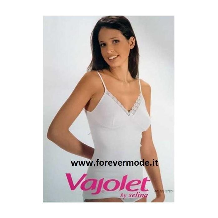 Canotta donna Vajolet in cotone con pizzo macramè e forma seno