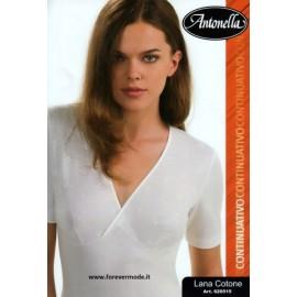 Maglia donna Antonella in lana cotone incrociata con seno