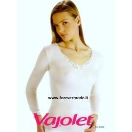 Maglia donna Vajolet manica lunga, misto lana con pizzo macramè