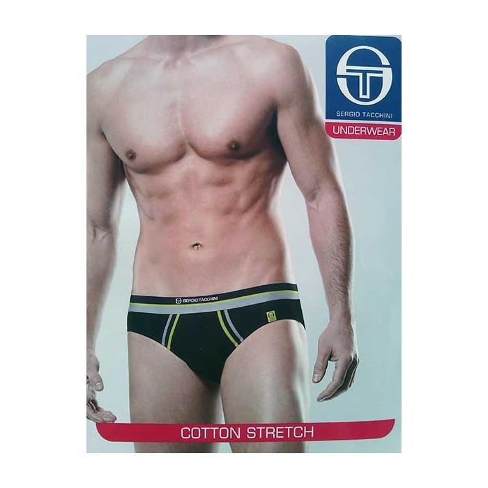 3 Slip uomo Sergio Tacchini in cotone con bande, elastico logo
