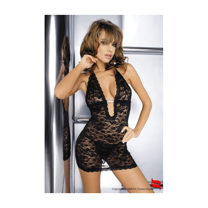 Sexy lingerie donna Obsessive,Brilliant chemise scollato+strass