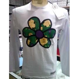 T-shirt uomo Guru manica lunga con fiore stampato e logo cucito
