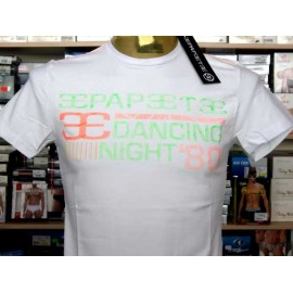 T-shirt maglia uomo Papeete manica corta a girocollo con logo grande in rilievo fluo