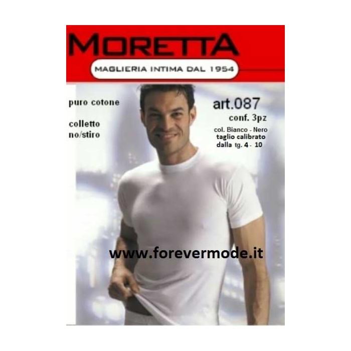 3 T-shirt uomo Moretta manica corta a girocollo in puro cotone