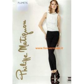 Leggings pantalone donna Matignon motivo micro pois con tasche vere
