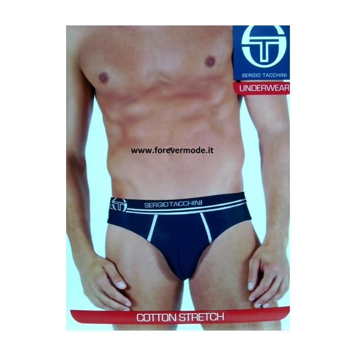 3 Slip uomo Sergio Tacchini in cotone con profili, elastico logo