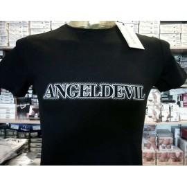 T-shirt uomo Angel Devil manica corta a girocollo in cotone con logo stampato