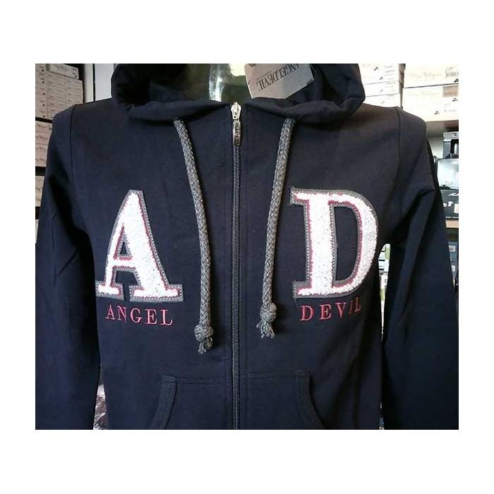 timeless design 1168b 51b36 Felpa uomo Angel Devil con zip, logo ricamato, tasche cappuccio