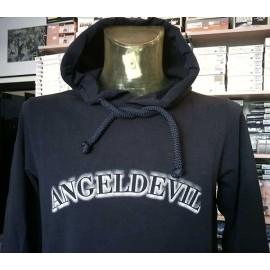 Felpa uomo Angel Devil con logo stampato, tasche e cappuccio