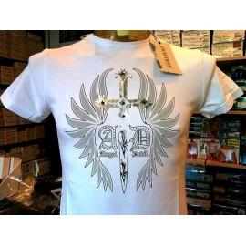 T-shirt maglia uomo Angel Devil con stampa logo e borchie