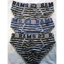 3 Slip uomo Rams 23 in cotone con motivo ed elastico logo