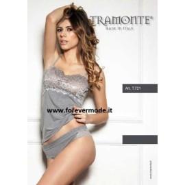 Canotta donna Tramonte spalla stretta in micro modal balza pizzo