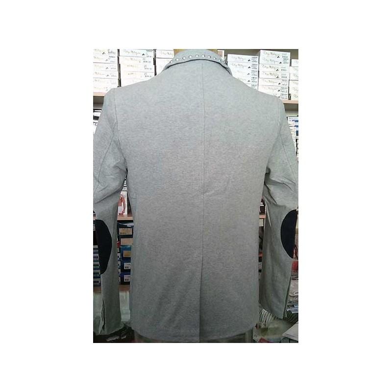 Giacca uomo Y.Two taglio slim in cotone con borchie e toppe 1821ad362d6