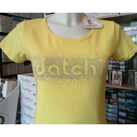 T-shirt donna Datch in cotone con logo in strass a contrasto