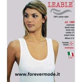 3 Canotte donna Leable a spalla larga in cotone makò con profilo raso