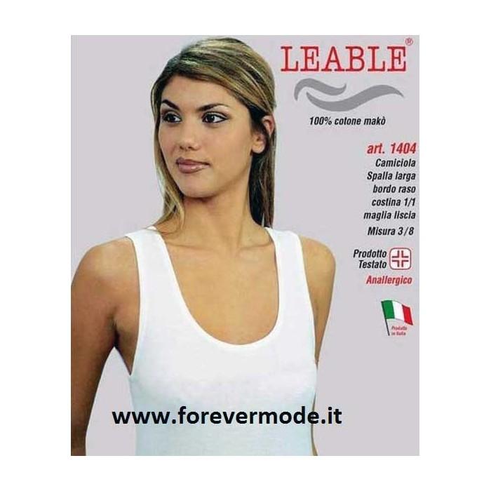 3 Canottiere donna Leable a spalla larga in cotone makò con profilo in raso