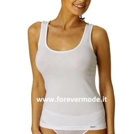 Canottiera donna Vajolet a spalla larga liscia in cotone elasticizzato esternabile