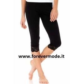Leggings pantacapri donna Tramonte in morbida microfibra con bordo in pizzo