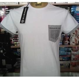 T-shirt uomo Papeete manica corta a girocollo in cotone, taschino con borchiette e logo
