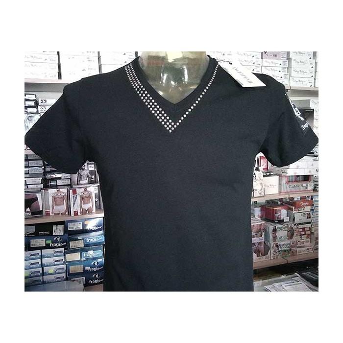 T-shirt uomo Angel Devil manica corta con scollo V borchiato e logo cucito in cotone