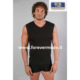T-shirt maglia uomo FDB smanicata in cotone aderente scollo V