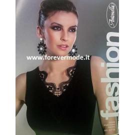 Sottogiacca donna Antonella smanicata in cotone con scollo V in pizzo macramè