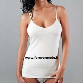 Canottiera donna FDB a spalla stretta in cotone con profilo raso