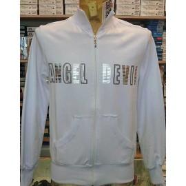Felpa uomo Angel Devil con zip con stampa logo argentata e borchie