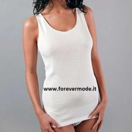 Canottiera donna FDB a spalla larga in puro cotone con profili in raso