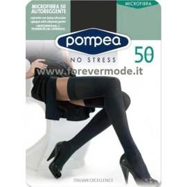 Autoreggente donna Pompea microfibra 50 opaca con balza liscia