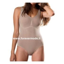 Body donna C&C in microfibra modellante senza cuciture che riduce 1 taglia