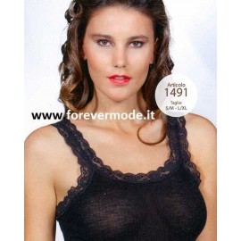 Top donna Egi a spalla stretta in lana seta con plissè e pizzo