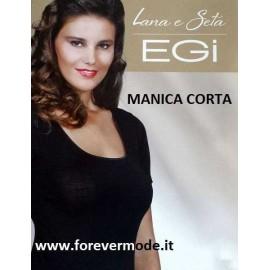 Maglia donna Egi a manica corta in lana seta con bordi in raso