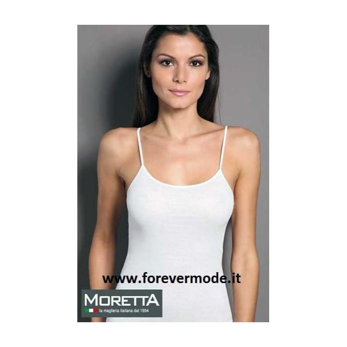 Canotta donna Moretta spalla stretta in cotone, profilo in raso