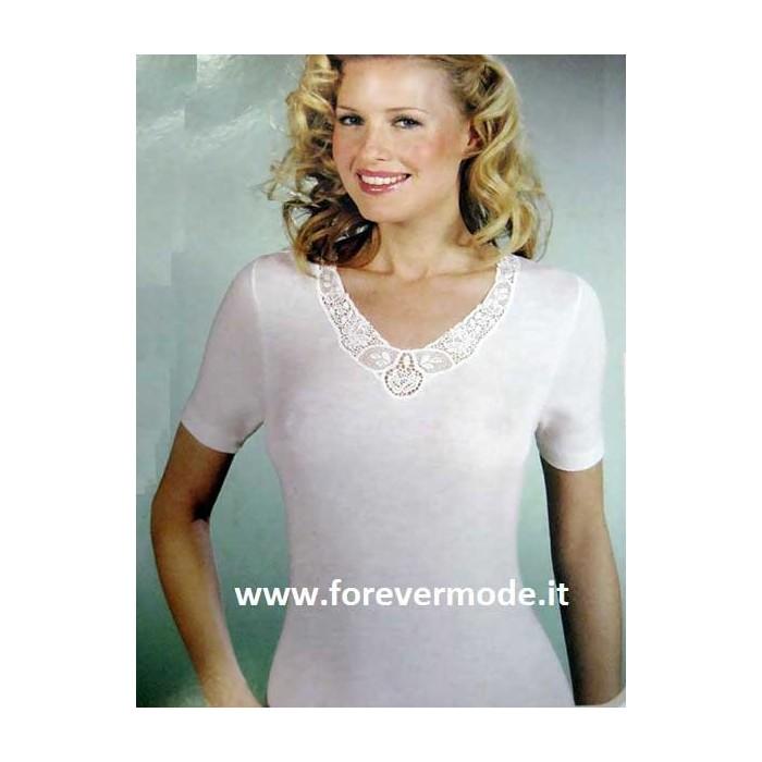 T-shirt donna Gicipi a manica corta in caldo misto lana con pizzo macramè