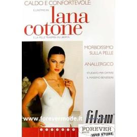 3 Canottiere donna Filam a spalla stretta in lana e cotone con forma del seno e pizzo
