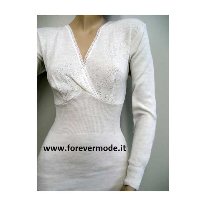 T-shirt donna Gicipi manica lunga in misto lana pesante a costina con forma del seno