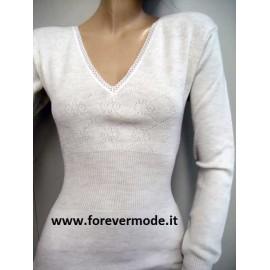 T-shirt donna Gicipi manica lunga in caldo misto lana pesante a costina