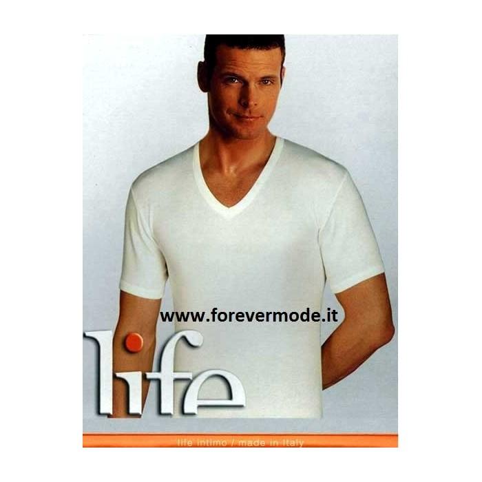 3 T-Shirt uomo Life a manica corta con scollo V in caldo cotone felpato invernale