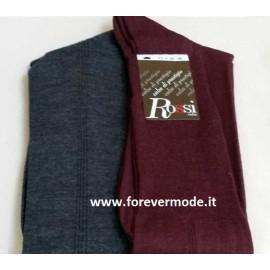 6 Calze uomo Rossi lunghe lisce in lana con le tre costine sui lati