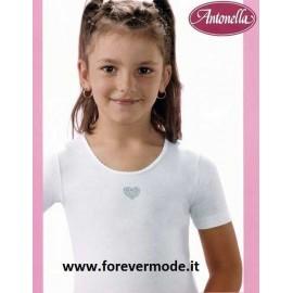 3 Maglie bambina Antonella a manica corta in cotone con ricamo