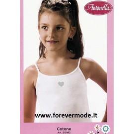 3 Canotte bambina Antonella a spalla stretta in cotone con ricamo