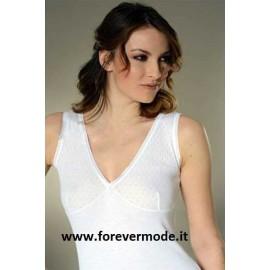 Canottiera donna Antonella a spalla larga in cotone con forma del seno