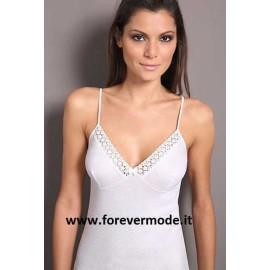 Canottiera donna Moretta a spalla stretta in cotone con forma del seno e pizzo